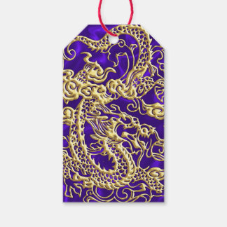 Embossed Gold Dragon on Purple Satin Gift Tags