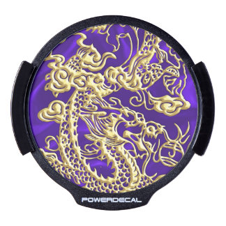 Embossed Gold Dragon on Purple Satin LED Car Decal