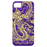 Embossed Gold Dragon on Purple Satin iPhone Case iPhone 5 Cases