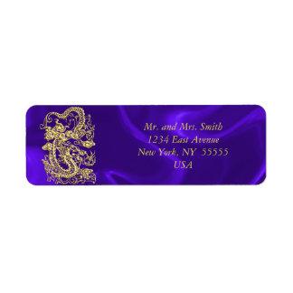 Embossed Gold Dragon on Purple Satin Return Address Labels