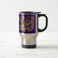 Embossed Gold Dragon on Purple Satin 15 Oz Stainless Steel Travel Mug (<em>$31.95</em>)