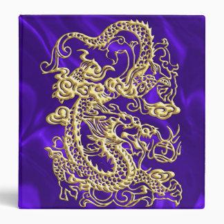 Embossed Gold Dragon on Purple Satin Print 3 Ring Binder