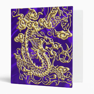 Embossed Gold Dragon on Purple Satin Print Binder