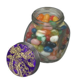 Embossed Gold Dragon on Purple Satin Print Glass Candy Jars