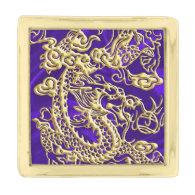 Embossed Gold Dragon on Purple Satin Print Gold Finish Lapel Pin (<em>$25.75</em>)