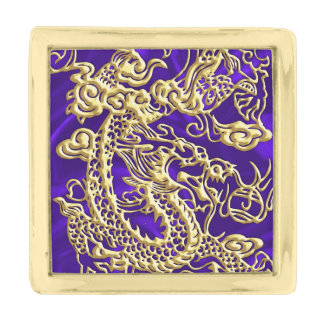 Embossed Gold Dragon on Purple Satin Print Gold Finish Lapel Pin
