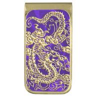 Embossed Gold Dragon on Purple Satin Print Gold Finish Money Clip (<em>$33.90</em>)