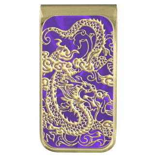 Embossed Gold Dragon on Purple Satin Print Gold Finish Money Clip