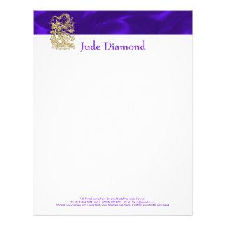 Embossed Gold Dragon on Purple Satin Print Letterhead