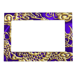 Embossed Gold Dragon on Purple Satin Print Magnetic Frame