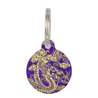 Embossed Gold Dragon on Purple Satin Print Pet Name Tag