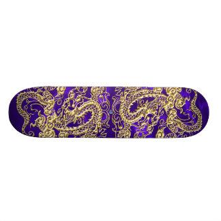 Embossed Gold Dragon on Purple Satin Print Skateboard Deck