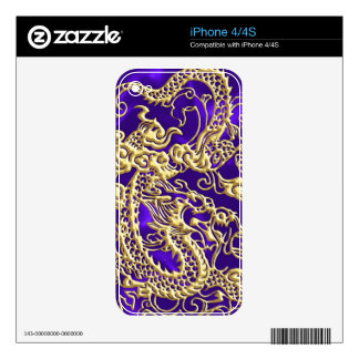Embossed Gold Dragon on Purple Satin Print Skin For iPhone 4S