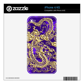 Embossed Gold Dragon on Purple Satin Print Skins For iPhone 4