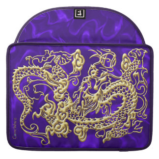 Embossed Gold Dragon on Purple Satin Print Sleeve For MacBook Pro