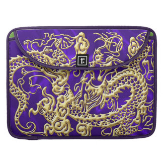 Embossed Gold Dragon on Purple Satin Print Sleeve For MacBooks