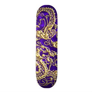 Embossed Gold Dragon on Purple Satin Skate Board