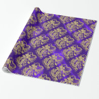 Embossed Gold Dragon on Purple Satin Wrapping Paper (<em>$21.70</em>)