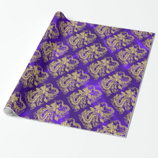 Embossed Gold Dragon on Purple Satin Wrapping Paper
