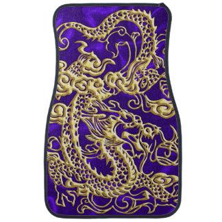 Embossed Gold Dragon on Purple Satin Floor Mat
