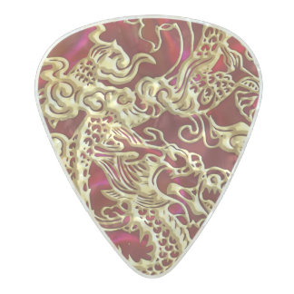 Embossed Gold Dragon on Red Satin Pearl Celluloid Guitar Pick