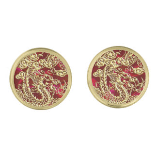 Embossed Gold Dragon on Red Satin Cufflinks