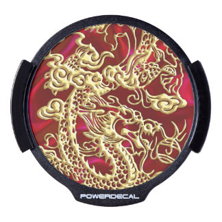 Embossed Gold Dragon on Red Satin LED Car Decal