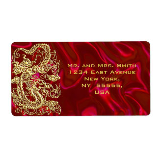 Embossed Gold Dragon on red Satin Custom Shipping Labels