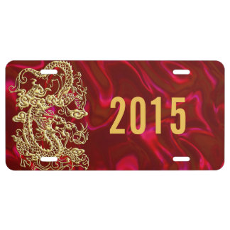 Embossed Gold Dragon on Red Satin License Plate