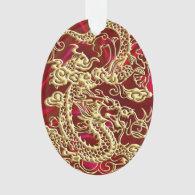 Embossed Gold Dragon on Red Satin Ornament (<em>$14.50</em>)