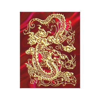 Embossed Gold Dragon on Red Satin Print