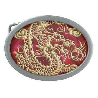 Embossed Gold Dragon on Red Satin Print Belt Buckle