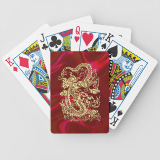 Embossed Gold Dragon on Red Satin Print Bicycle Playing Cards