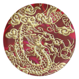 Embossed Gold Dragon on Red Satin Print Dinner Plate