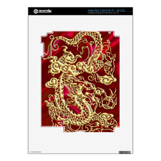 Embossed Gold Dragon on Red Satin Print iPad 3 Skin