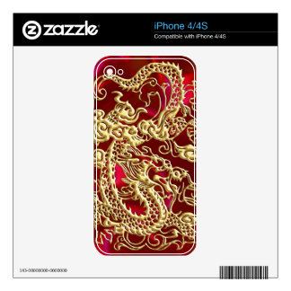 Embossed Gold Dragon on Red Satin Print iPhone 4 Decal