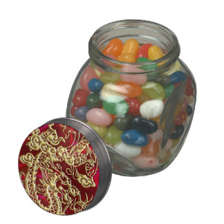 Embossed Gold Dragon on Red Satin Print Jelly Belly Candy Jar