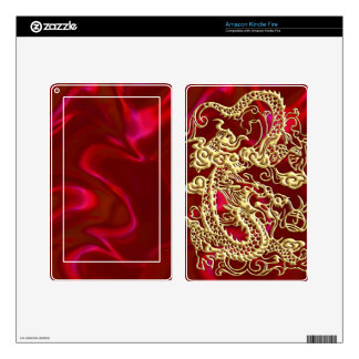 Embossed Gold Dragon on Red Satin Print Kindle Fire Skins