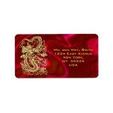 Embossed Gold Dragon on Red Satin Print Label (<em>$4.00</em>)