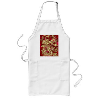 Embossed Gold Dragon on Red Satin Print Long Apron