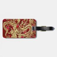 Embossed Gold Dragon on Red Satin Print Luggage Tag (<em>$11.15</em>)