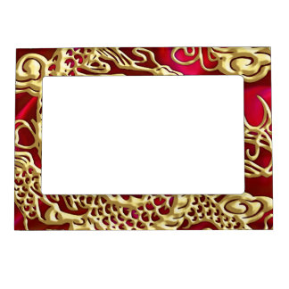 Embossed Gold Dragon on Red Satin Print Magnetic Photo Frame