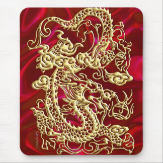 Embossed Gold Dragon on Red Satin Print Mouse Pad