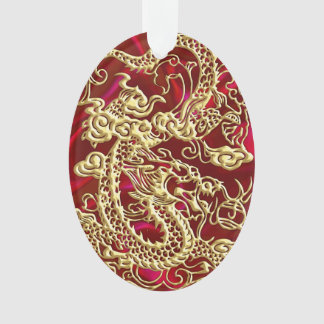 Embossed Gold Dragon on Red Satin Print Ornament