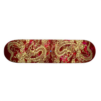 Embossed Gold Dragon on Red Satin Print Skateboard