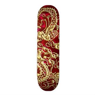 Embossed Gold Dragon on Red Satin Print Skateboard Deck