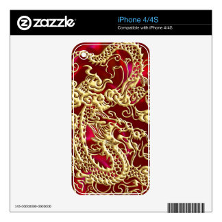 Embossed Gold Dragon on Red Satin Print Skins For iPhone 4S