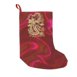 Embossed Gold Dragon on Red Satin Print Small Christmas Stocking