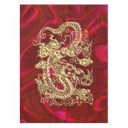 Embossed Gold Dragon on Red Satin Print Tablecloth (<em>$109.00</em>)