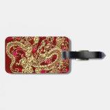 Embossed Gold Dragon on Red Satin Print Tag For Luggage (<em>$11.15</em>)